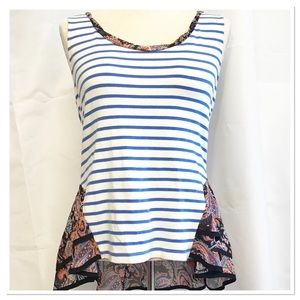 Anthropologie Postmark Tank Top Stripe Ruffle XS